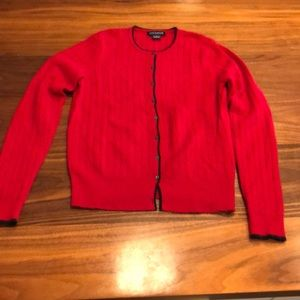 Ann Taylor Cashmere Cardigan Size Small Red Navy